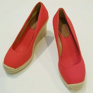 J. Crew Factory Canvas Espadrille Wedges Red